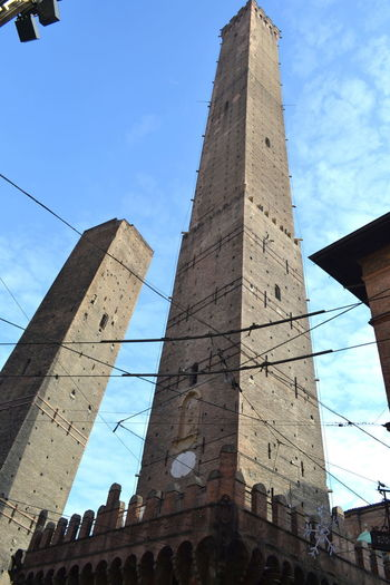 Bologna Ancient Ancient Civilization Architecture Building Exterior Built Structure City Cloud - Sky Day Emiliaromagna History Low Angle View No People Outdoors Place To Visit Point Of View Sky Tall - High Torre Degli Asinelli Travel Destination Travel Destinations View From Above
