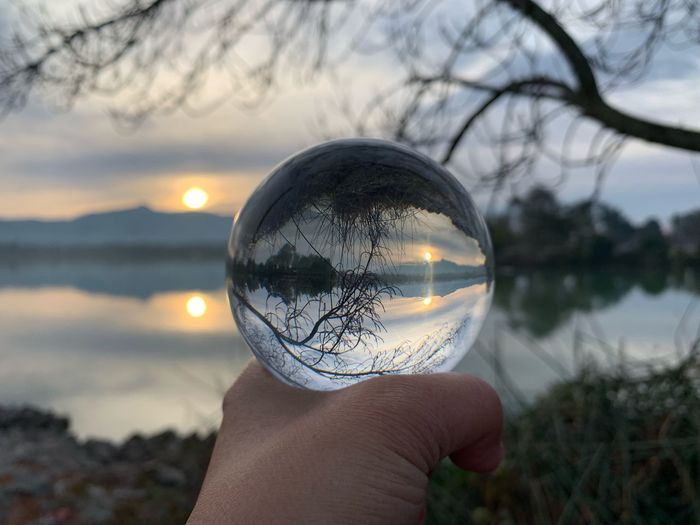 Reflection on the Lake Morning Sunrise Lake Elizabeth Fremont Lensball Crystal Ball Reflection