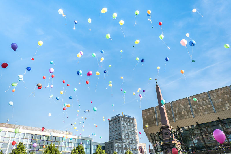 Architecture Balloon Baloons Building Exterior Built Structure Celebration City Colors Day Low Angle View Mid-air Multi Colored No People No People, Outdoors Sky