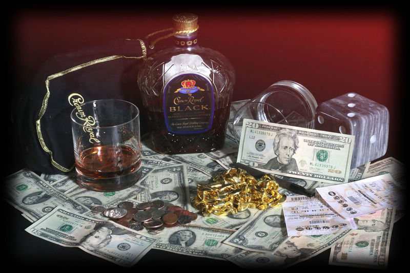 Coins Crown Royal Dice Glasses Gold Chains Liquor Lottery Lottery Tickets Money First Eyeem Photo