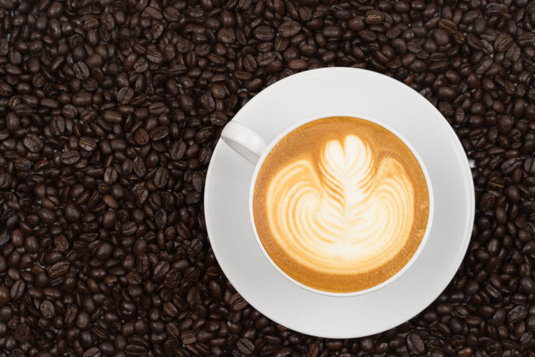Latte Backgrounds Coffee - Drink Coffee Beans Cup Of Coffee Fresh Latteart Leaf Milk White Color