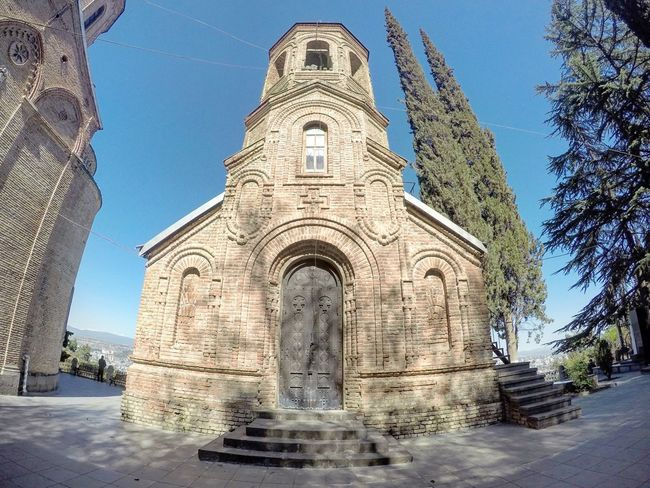 Architecture Architecture Building Exterior Built Structure Caucasus Day Fisheye FishEyeEm Georgia Gopro Goprohero4 History Low Angle View Monastery Mountain No People Orthodox Church Outdoors Place Of Worship Religion Sky Spirituality Sunlight Tbilisi Tbilisi Loves You