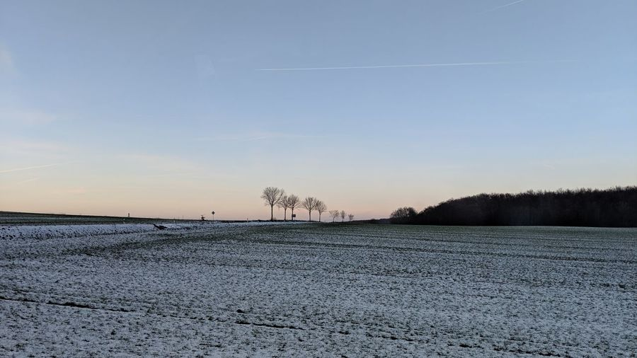 Winter landscape. Germany Winter Landscape Nature Winter Beauty  Beauty In Nature Winter Colors Winter Light Simplicity Beauty Snow Forest Passing By Countryside Clear Sky Sunset Cold Temperature Winter Bare Tree Sky