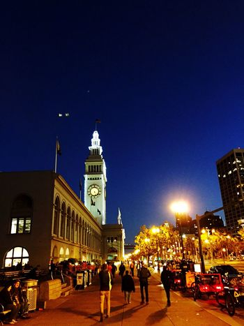 """""""Embarcadero Nights"""" A walk along the San Francisco waterfront toward the brightly lit Ferry Building on the Embarcadero. Embarcadero Waterfront San Francisco Ferrybuilding Night Nightphotography Night Lights Night Photography Nightlife Night View Nightshot"""
