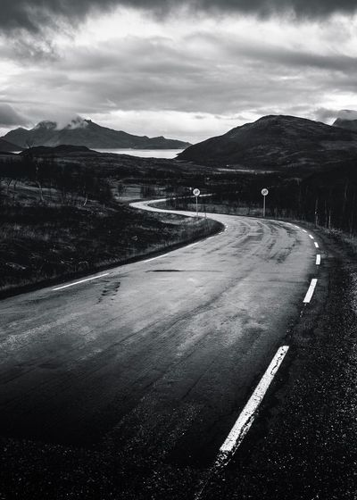 ARCTIC ROAD   Just two more weeks to go ❤️🇳🇴❤️   Road Roadtrip Blackandwhite Black And White Eye4photography  EyeEm Nature Lover EyeEm Gallery EyeEm Best Shots EyeEmBestPics Beauty In Nature EyeEm Best Shots - Nature Mountain Tranquility Outdoors Beauty In Nature Landscape No People Day Nature Sky Cloud Clouds And Sky Norway Moody Sky Moody