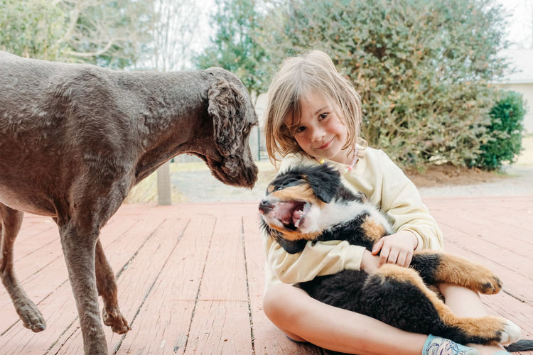 Concept of love to animals and friendship with pets adorable cute child girl with puppy dog on porch