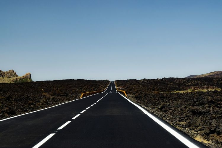 Empty road along landscape against clear sky