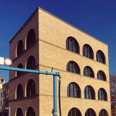 Architecture Berlin Photography Façade Industrial Photography Modern Architecture Abstract Arch Architecture Berliner Ansichten Berlinstagram Blue Blue Pipe Building Exterior Built Structure Clear Sky Day Low Angle View Minimal Nature Stones No People Outdoors Sky Stone Facade Sunlight Window