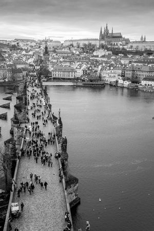 from the Old Town Bridge Tower Architecture Blackandwhite Bridge Charles Bridge Cityscape Karlův Most St. Vitus Cathedral Streetphoto_bw Streetphotography Travel Photography Vltava Vltava River
