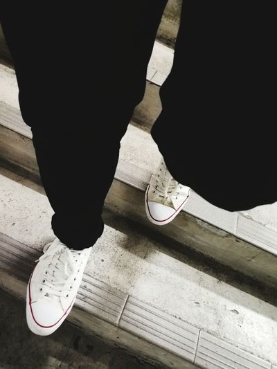 Out Of The Box Low Section Human Leg Human Foot Shoe Human Body Part One Man Only People Adult Standing Close-up Walking Converse White Shoe Down The Stairs Steps Steps And Staircases