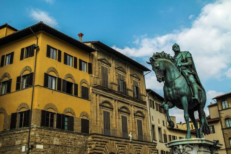 Florence - March 2015 Patina Horse Europe Italy Florence Statue Sculpture Building Exterior Architecture Sky Low Angle View Built Structure Cloud - Sky No People Human Representation Day Outdoors