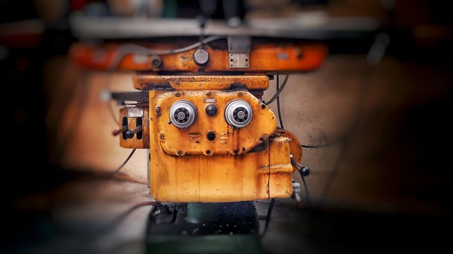 Scenics Low Angle View Close-up No People Animal Themes Indoors  Night Iron - Metal Robot Yellow Robotic Creatures Work Working Machines Mechanic Mechanical Things Eyes Monster Close Up Technology Art Is Everywhere