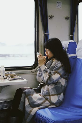 Girl ThatsMe Vehicle Interior Mode Of Transportation Sitting One Person Real People Transportation Window Seat Travel Lifestyles Side View Leisure Activity Rail Transportation Train