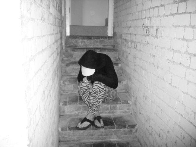 Desolate Despair Lonely Girl Alone In The Dark Desolate Scene Cellar Stairs