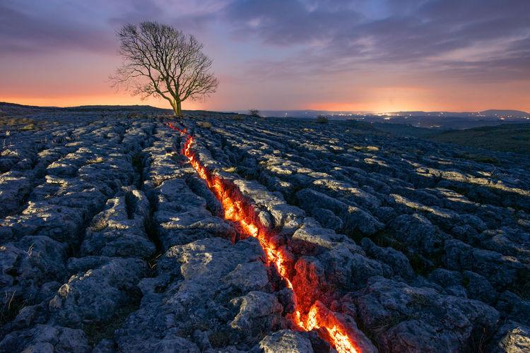 Malham lone tree lightpainting