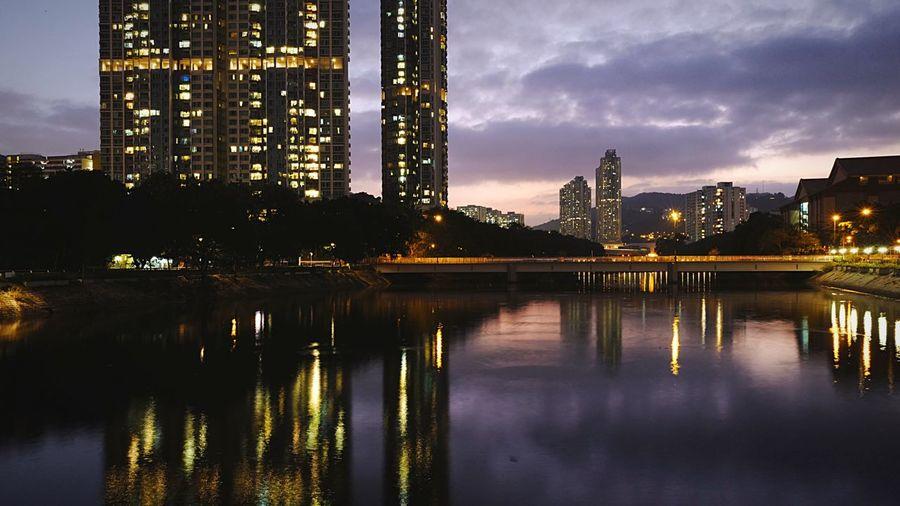Evening at Shatin HongKong Discoverhongkong Leica Leicaq Long Exposure Nightphotography Light Night Lights EyeEm Best Shots Beautiful Reflection Water_collection