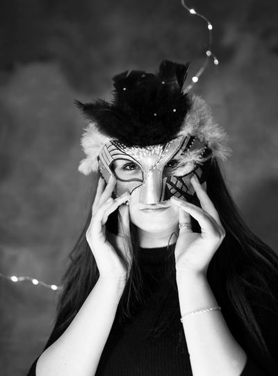 woman in mask Sylvester Mask Maskarade Hiding Mystery Mysterious Karneval Fasching Mystique Looking At Camera Adult Portrait One Person Headshot People Only Women Indoors  Young Women EyeEm Ready   Fashion Stories The Portraitist - 2018 EyeEm Awards