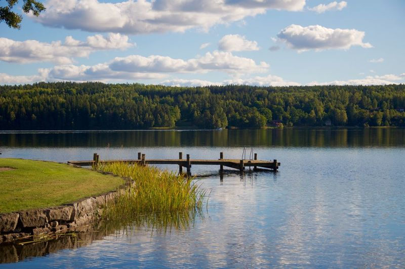 Jetty Over Lake By Forest Against Sky