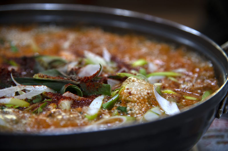 Dochi Altang, one of fish stew in Korean style Food Food And Drink Indoors  Ready-to-eat Vegetable No People Close-up Freshness Still Life Stew Selective Focus Healthy Eating Kitchen Utensil Household Equipment Wellbeing Cooking Pan Table Meat Container Bowl