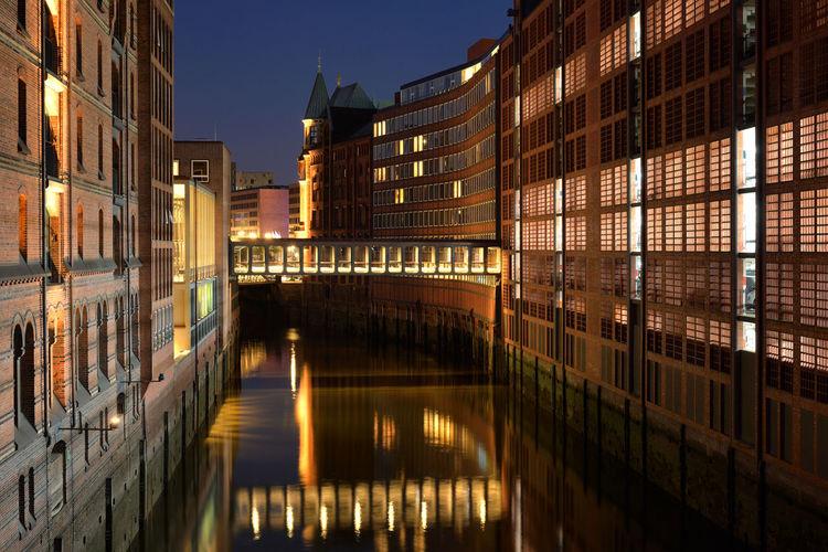 HafenCity Architecture Reflection Night Water City Urban Evening Building Germany Outdoors Illuminated Hamburg Europe No People Deutschland DE276_HAMBURG_AK DE276_GERMANY_AK