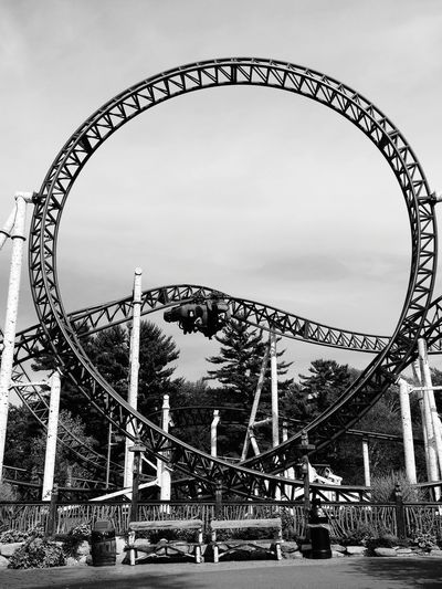 EyeEmNewHere Canobielakepark Salem NH Roller Coaster New England  Black And White Built Structure Outdoors Architecture Sommergefühle Low Angle View Amusement Park Travel Destinations Let's Go. Together. Adventure Done That. Black And White Friday Go Higher