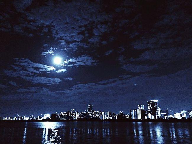 Supermoon Night Photography Night View Night Lights Moonlight NightRun Navy NavyBlue OSAKA 淀川