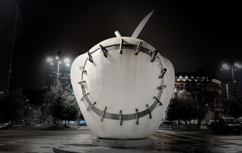 –FORBIDDEN FRUIT – Check This Out Italy Milan Milano Art Minimal Outdoors White Forbidden Fruit Apple Night Amusement Park Illuminated Arts Culture And Entertainment No People Outdoors Amusement Park Ride Close-up