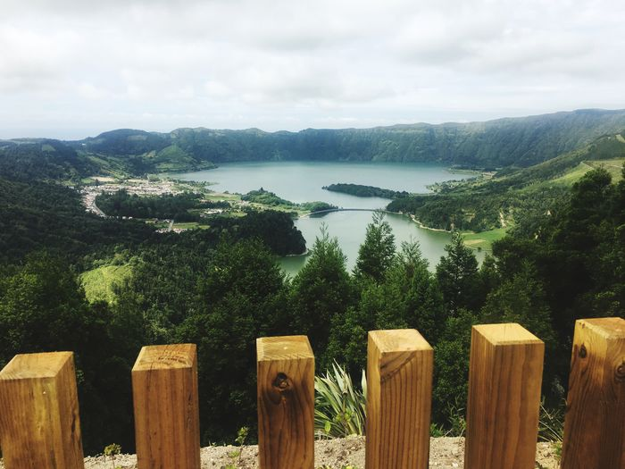 View from above at sete cidades Lake Water Sete Cidades Azores Sky Wood - Material Tree Plant Cloud - Sky Nature Water Tranquility Scenics - Nature Day Fence Beauty In Nature No People Tranquil Scene Wooden Post