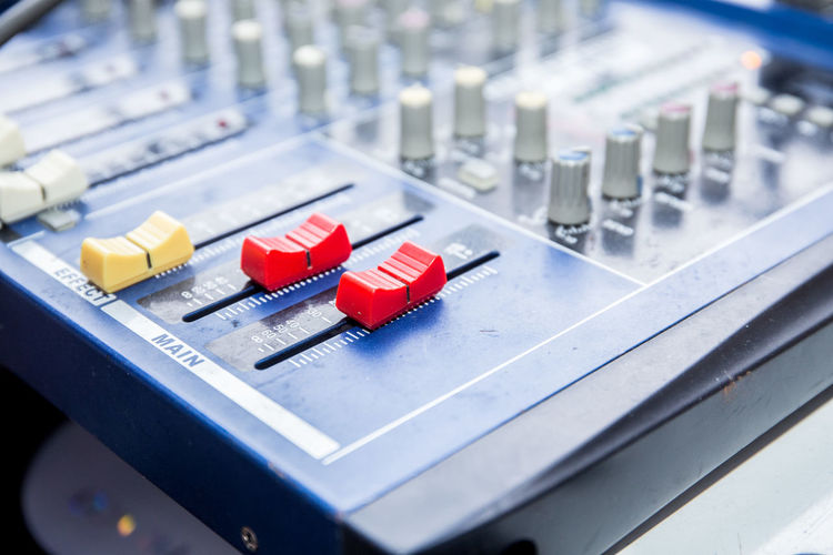 mixer controller nature light Close-up Technology Control Red Control Panel Indoors  Equipment In A Row No People Selective Focus Sound Recording Equipment Music Sound Mixer Audio Equipment Complexity Table High Angle View Connection Education Science Push Button Electrical Equipment
