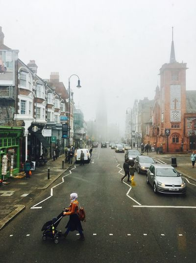Building Exterior Transportation Street Mode Of Transport Architecture Real People Road Car Outdoors Day Foggy London Muswell Hill Scarf Stroller