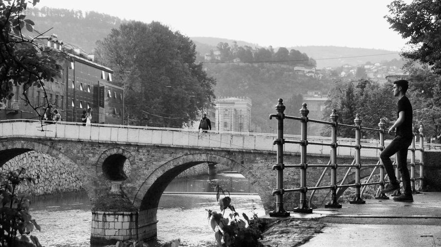 Latin Bridge Black And White Blackandwhite Photography Bridge Day Men River Street Photography