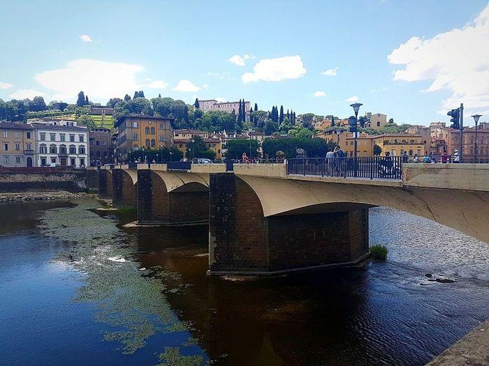 View of bridge over river in city