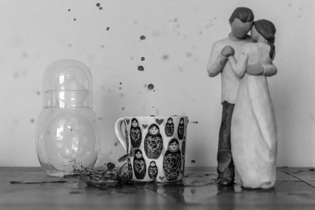 Black Black And White Coffee Creativity Droplets Indoors  Mess Multi Colored Russian Doll Splash