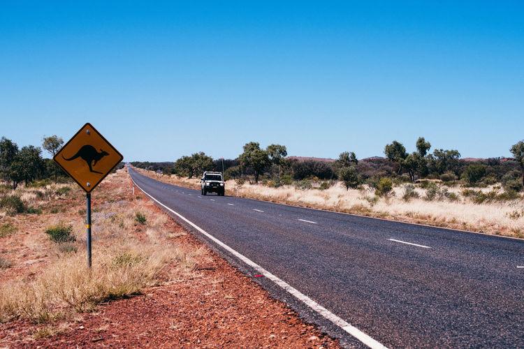 Australia Outback Road Rural Sign Blue Sky Highway Kangaroo Island Road Sign Roadtrip Rural Scene Wild