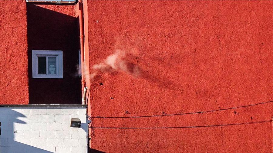 Close-up of red door
