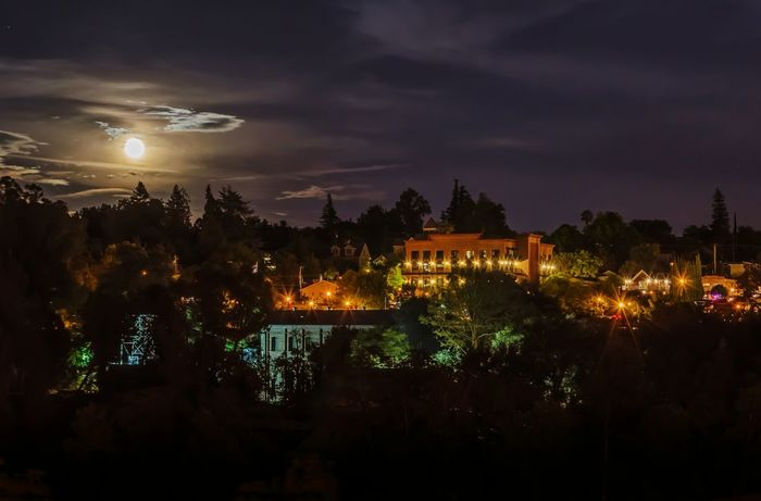 """""""Moon Over Folsom"""" - View of Historic Folsom as seen from the Lake Natoma Crossing Bridge. It was a lovely summer night to be out. 🌚 EyeEm Best Shots Skyporn Nightphotography Sky_collection Silhouette Nightsky Moon Moonlight Clouds Clouds And Sky"""