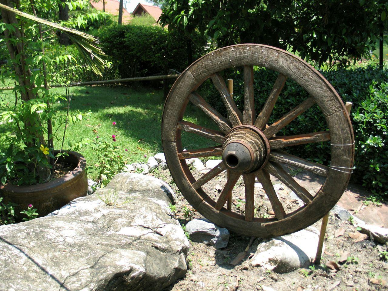 Wooden wheel in park