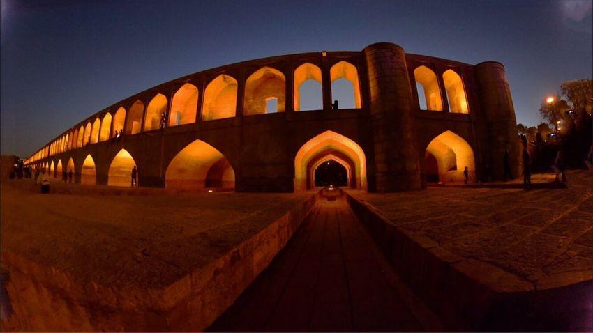 Panoramic view of 33 archs bridge at Esfahan, Iran. August 2016. Esfahan Iran Beidge Built Structure Arch History Architecture Building Exterior Sunset EyeEm Nature Lover EyeEm Best Shots EyeEm Gallery The Architect - 2017 EyeEm Awards