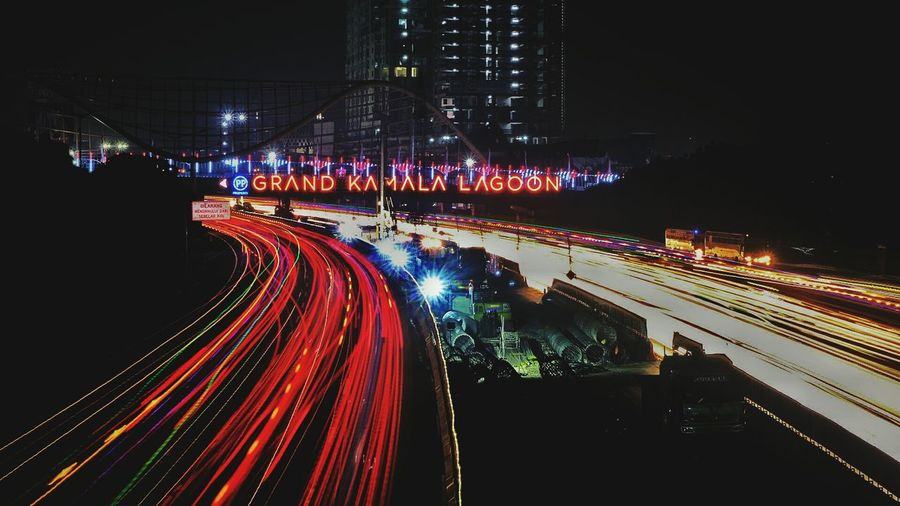 Night Traffic Light Trail Speed Illuminated Transportation Street Road Long Exposure Car Red Motion City Rush Hour Road Sign Outdoors no people