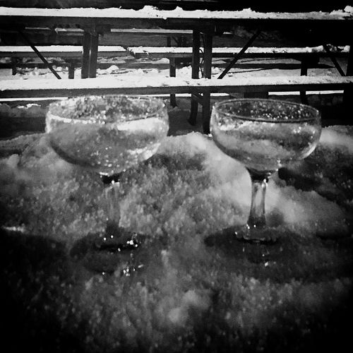 Happy New Year 2017 Snow Cold Winter Champagne Ski Resort  Beaver Valley Glasses Cheers