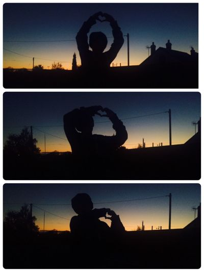 Check This Out This is my son Harrison making heart shapes in Sunset When Darkness Meets Light 💙💛 Sihouettes 💛💙