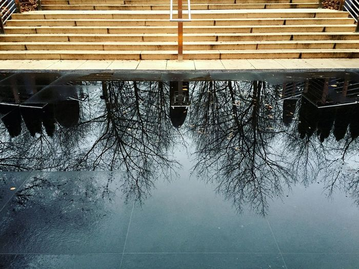Reflection of built structure in water