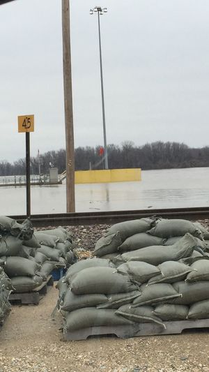 sandbagging along the flooded Mississippi, Christmas 2015