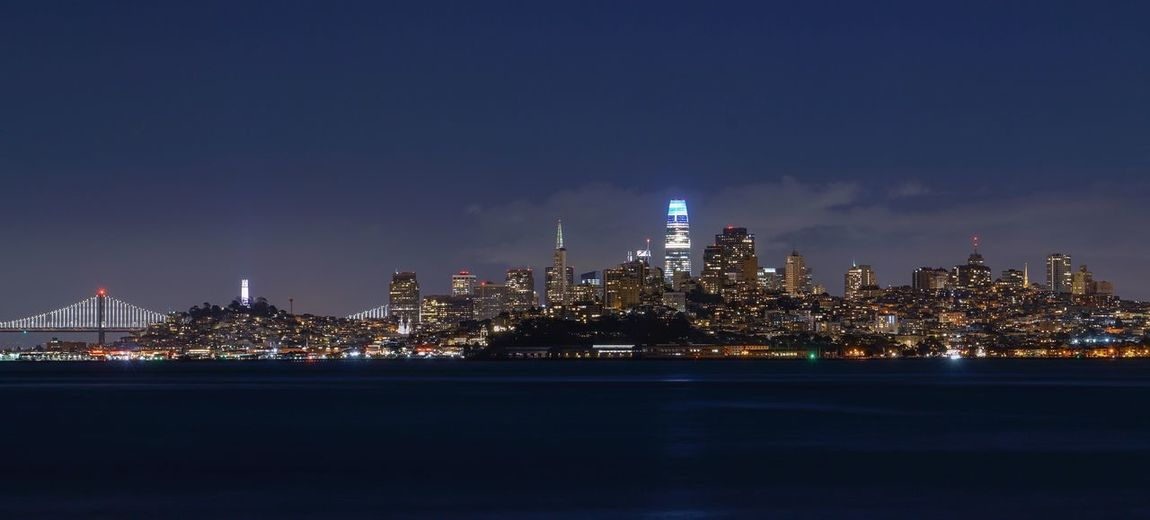 Architecture Building Exterior Illuminated Built Structure Night Sky Water City Waterfront Nature No People Reflection Building Urban Skyline Tower Tall - High River Outdoors Cityscape Skyscraper Spire  San Francisco Long Exposure