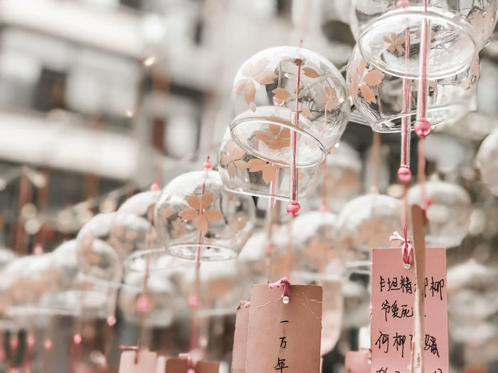 Low angle view of lanterns hanging in market