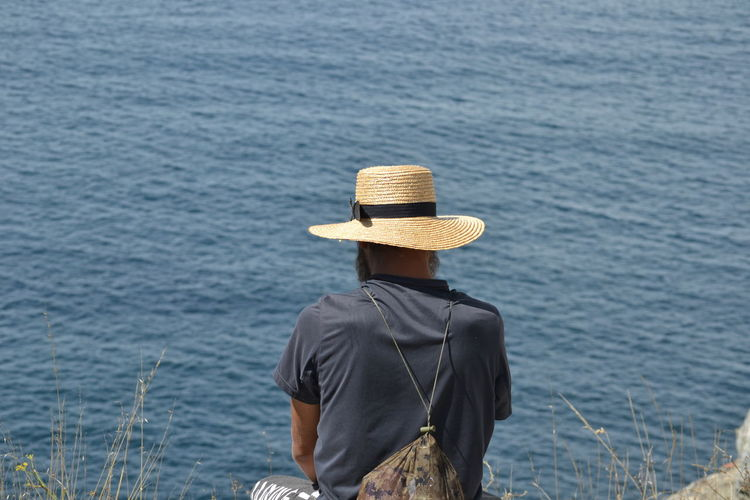 Rear View Of Man Wearing Straw Hat By Lake
