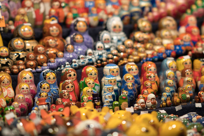 Collection of matryoshka dolls at a tourist gift shop. Selective focus Matrioska Matryoshka Doll Soviet Union Abundance Close-up Dolls For Sale Large Group Of Objects Matriochka  Matrioshka Matrioszka Matryoshka No People Selective Focus Souvenir
