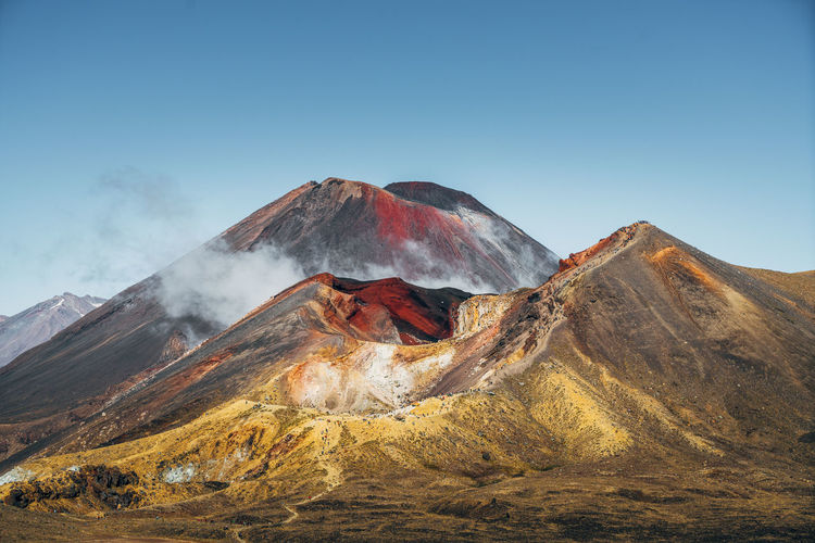 Panoramic view of volcanic landscape against clear sky