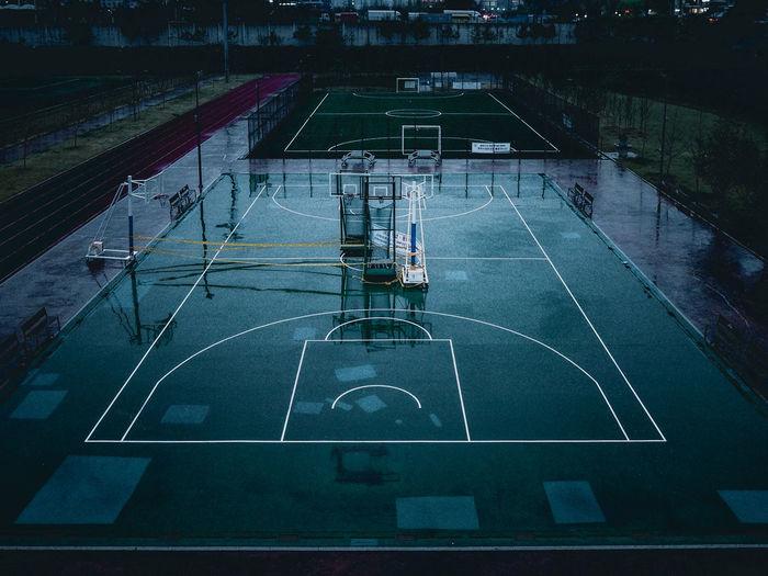 Sports field in rain