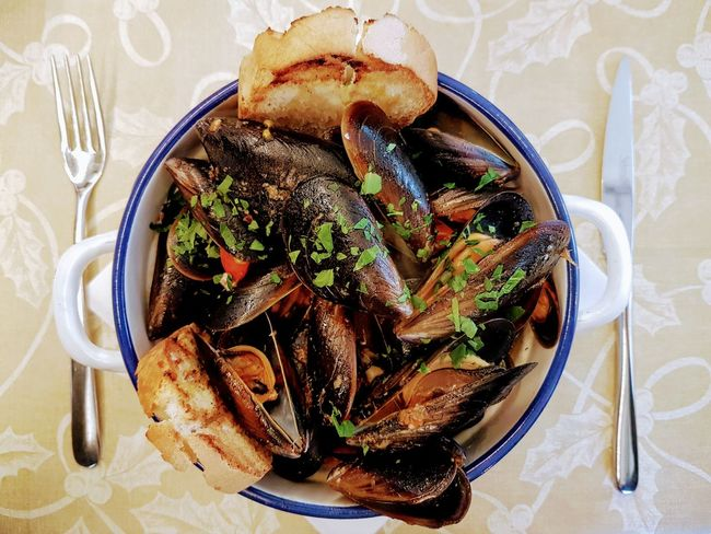 Fish Cozze Food And Drink Indoors  Table Freshness High Angle View Ready-to-eat Food Fork Sweet Food